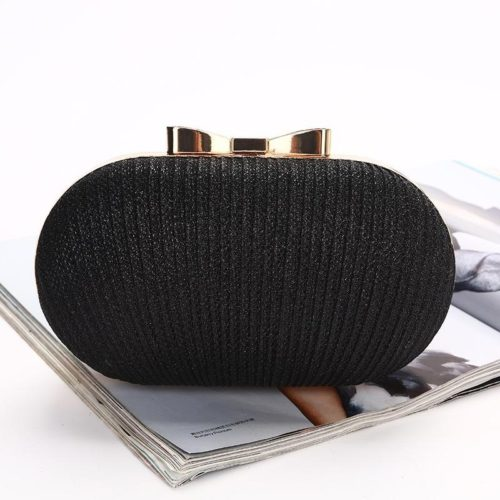 JT0860-black Tas Pesta Clutch Bag Wanita Mewah (Tali Rantai Silver)
