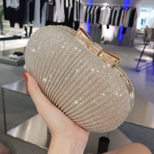 JT0860-gold Tas Pesta Clutch Bag Wanita Mewah (Tali Rantai Silver)