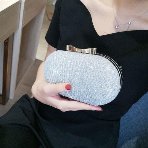 JT0860-silver Tas Pesta Clutch Bag Wanita Mewah (Tali Rantai Silver)