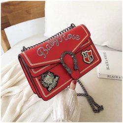 JT0900-red Clutch Bag Wanita Selempang Tali Rantai