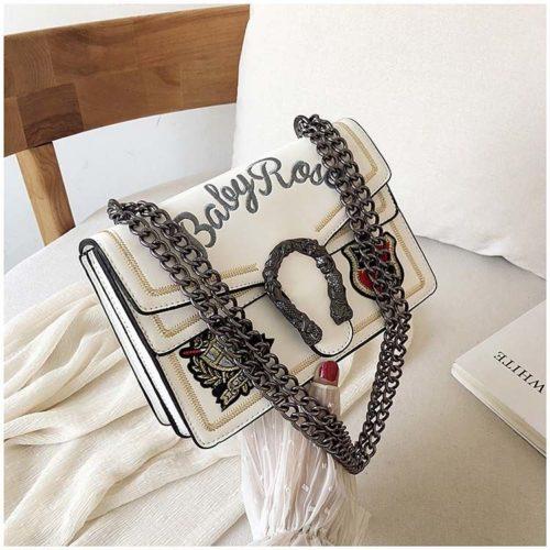 JT0900-white Clutch Bag Wanita Selempang Tali Rantai