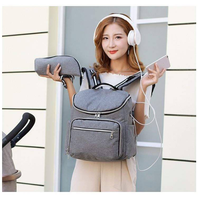 JT0912 IDR.188.000 MATERIAL POLYESTER SIZE L37XH36XW19CM WEIGHT 800GR (2IN1) COLOR GRAY