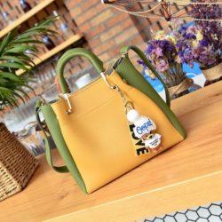 JT096-yellowgreen Tas Handbag Wanita 2in1 Free Gantungan Lucu