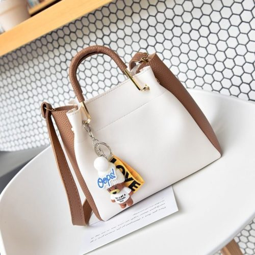 JT096-whitebrown Tas Handbag Wanita 2in1 Free Gantungan Lucu