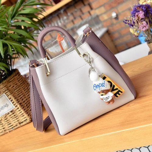 JT096-whitepurple Tas Handbag Wanita 2in1 Free Gantungan Lucu