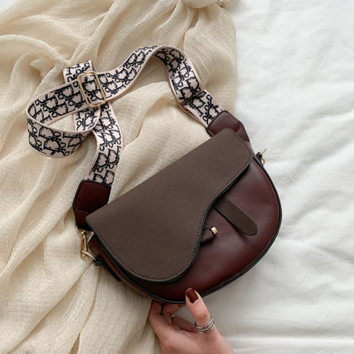 JT1004-brown Tas Selempang Model Saddle Bag Kekinian Import