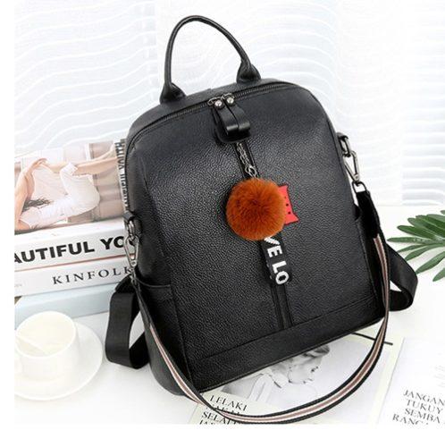 JT1018-black Tas Ransel Pom Pom LOVE Import 2 Tali