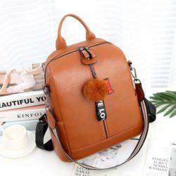 JT1018-brown Tas Ransel Pom Pom LOVE Import 2 Tali