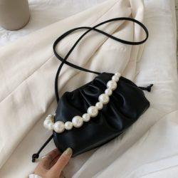 JT10276-black Tas Selempang Mutiara Fashion Wanita Elegan
