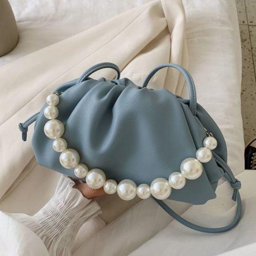 JT10276-blue Tas Selempang Mutiara Fashion Wanita Elegan