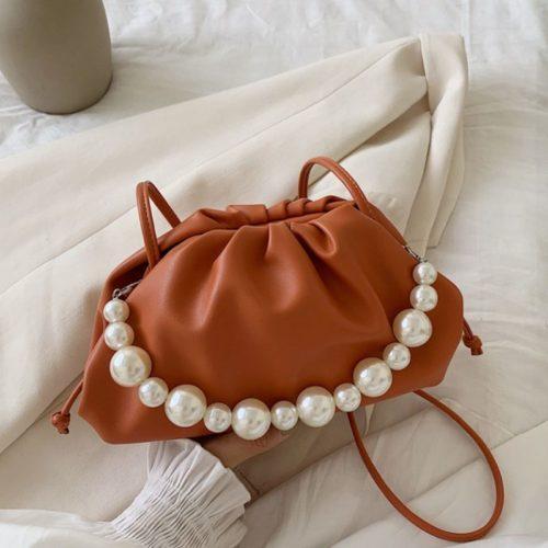 JT10276-orange Tas Selempang Mutiara Fashion Wanita Elegan