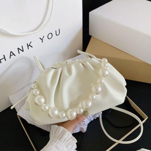 JT10276-white Tas Selempang Mutiara Fashion Wanita Elegan