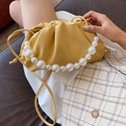 JT10276-yellow Tas Selempang Mutiara Fashion Wanita Elegan