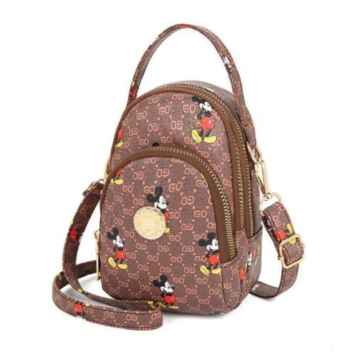 JT10339-coffee Sling Bag Mickey Wanita Imut Cantik Import