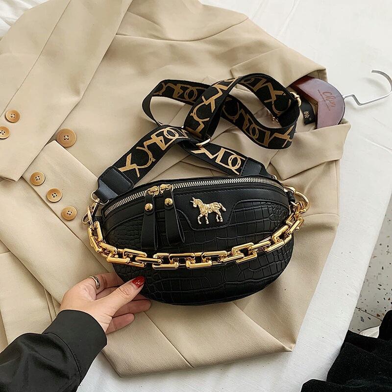 JT1034-black Waist Bag Tas Pinggang Wanita Cantik Import