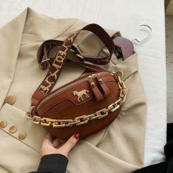 JT1034-brown Waist Bag Tas Pinggang Wanita Cantik Import