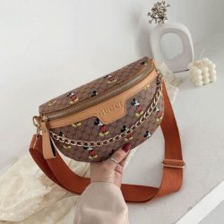 JT10636-brown Waist Bag Mickey Wanita Cantik Import
