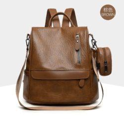 JT1065-brown Tas Ransel Fashion 2in1 Cantik Terbaru