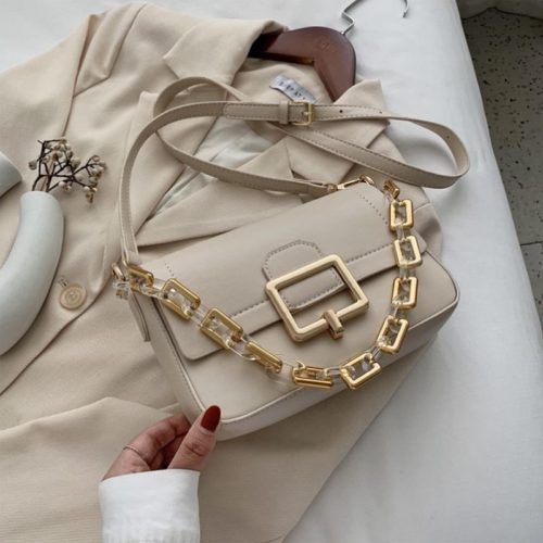 JT1066-beige Tas Selempang Chain Elegan Wanita Cantik