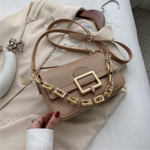 JT1066-khaki Tas Selempang Chain Elegan Wanita Cantik