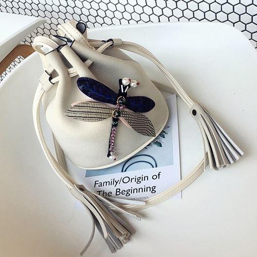 JT10810-white Tas Selempang Serut Modis Motif Dragonfly