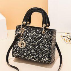 JT11361-blackflower Tas Handbag Selempang Wanita Elegan Import Terbaru