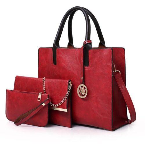 JT11557-red Tas Selempang Wanita Elegan Import 3in1