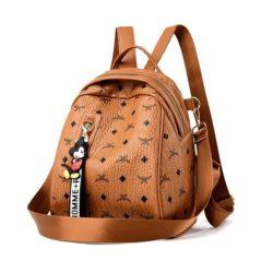 JT11743-brown Tas Ransel Wanita Cantik Motif Mickey