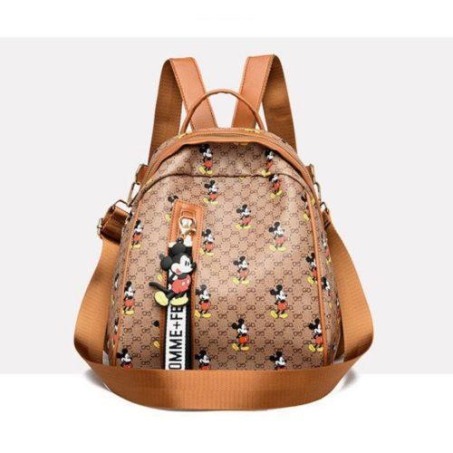JT11743-khaki Tas Ransel Wanita Cantik Motif Mickey