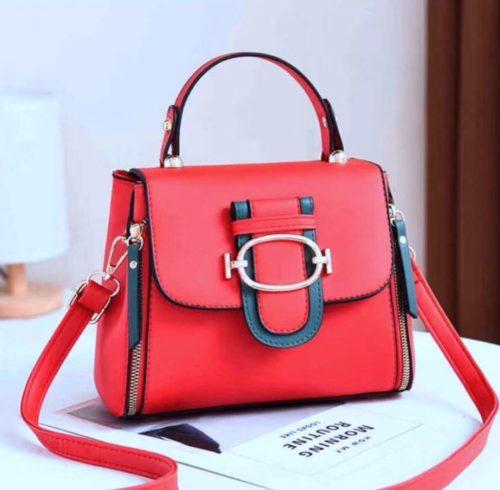 JT12023-red Tas Handbag Selempang Wanita Cantik Elegan