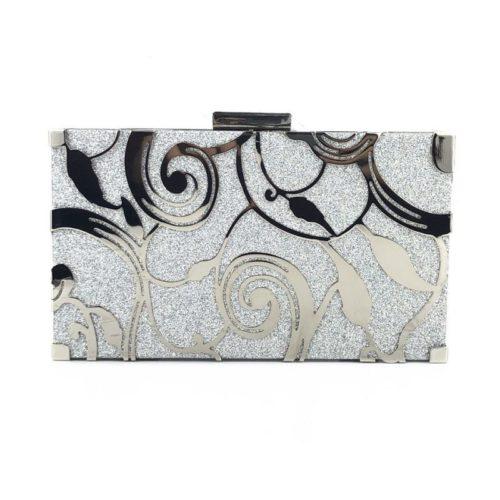 JT12100-silver Tas Pesta Clutch Import Wanita Elegan (Tali Rantai)