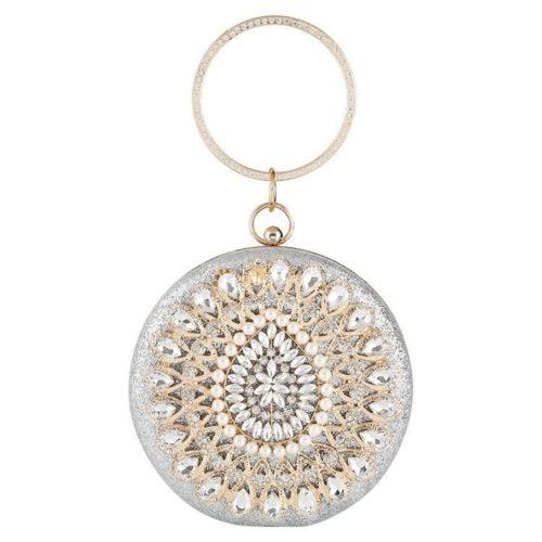 JT12101-silver Tas Pesta Import Bulat Wanita Elegan (Ada Kotak