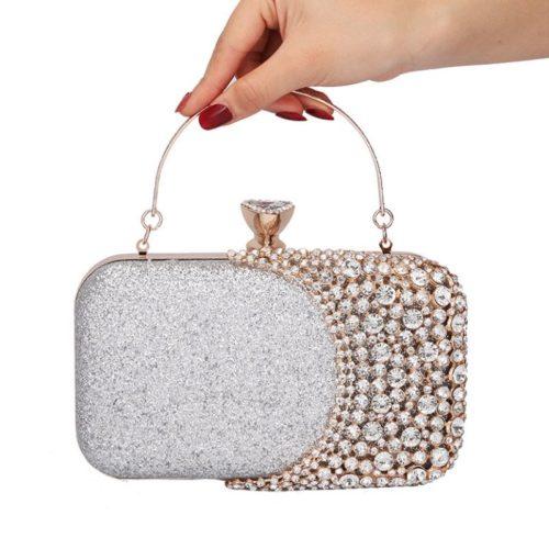 JT12102-silver Tas Pesta Wanita Elegan Import (Ada Kotak