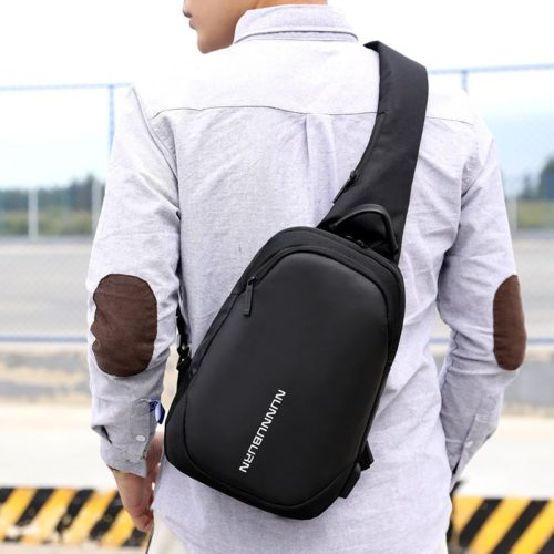 JT12254-black Tas Sling Bag Pria Modis Colokan USB