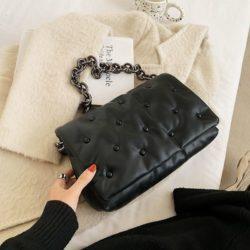 JT12282-black Tas Selempang Rantai Wanita Cantik Import Terbaru