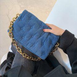 JT12282-blue Tas Selempang Rantai Wanita Cantik Import Terbaru