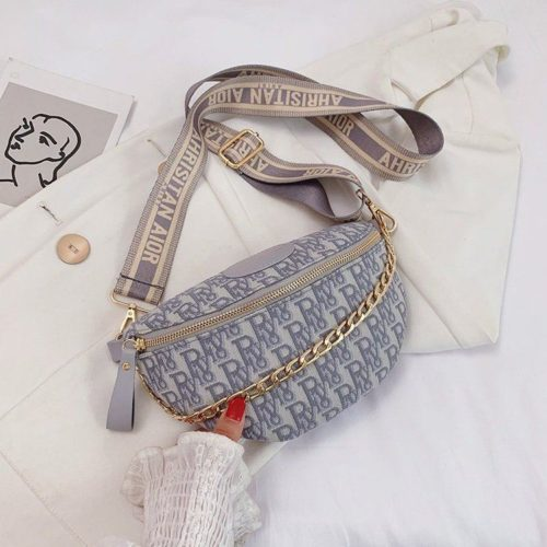 JT12622-gray Tas Waist Bag Fashion Import Wanita Cantik