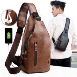 JT12636-brown Sling Bag Pria Modis Import Kekinian