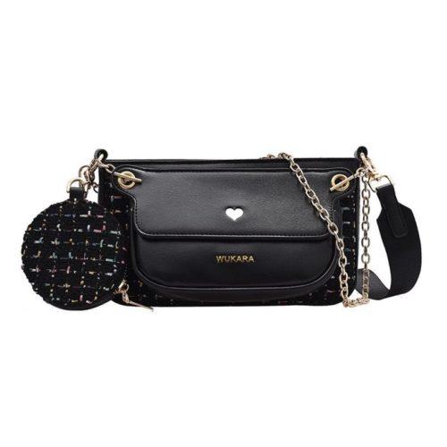 JT12984-black Tas Selempang Wanita Imut Elegan 3in1 Import