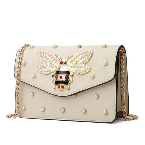 JT1356-beige Tas Clutch Bag Bee Fashion Tali Rantai