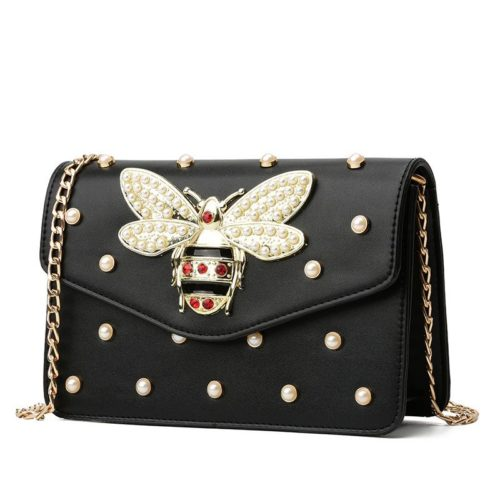 JT1356-black Tas Clutch Bag Bee Fashion Tali Rantai