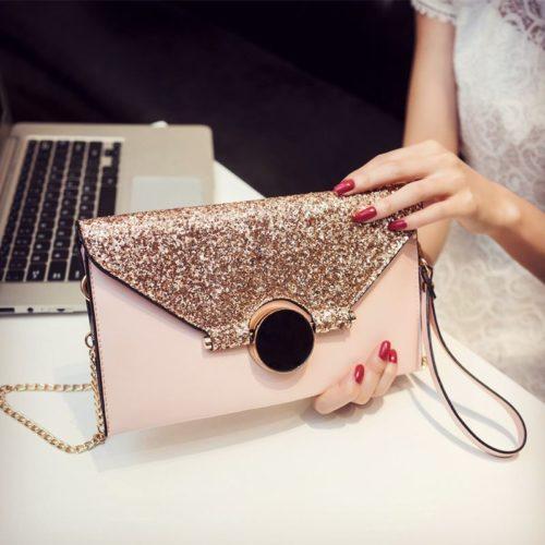 JT1421-pink Tas Selempan Clutch Wanita Elegan Import