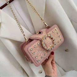 JT14220-pink Tas Pesta Selempang Wanita Elegan Import Terbaru