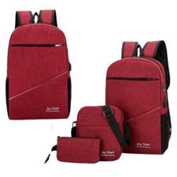 JT15046-red Tas Laptop Ransel Anti Maling Unisex 3in1