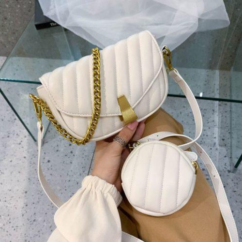 JT1665-beige Tas Selempang Wanita Elegan Import 2in1