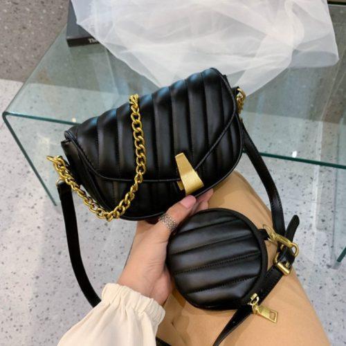 JT1665-black Tas Selempang Wanita Elegan Import 2in1