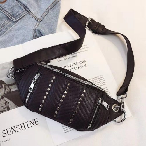JT17746-black Waist Bag Sling Fashion Cantik Wanita Elegan
