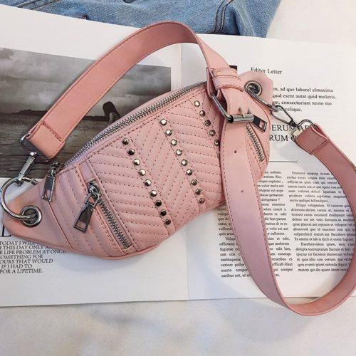 JT17746-pink Waist Bag Sling Fashion Cantik Wanita Elegan