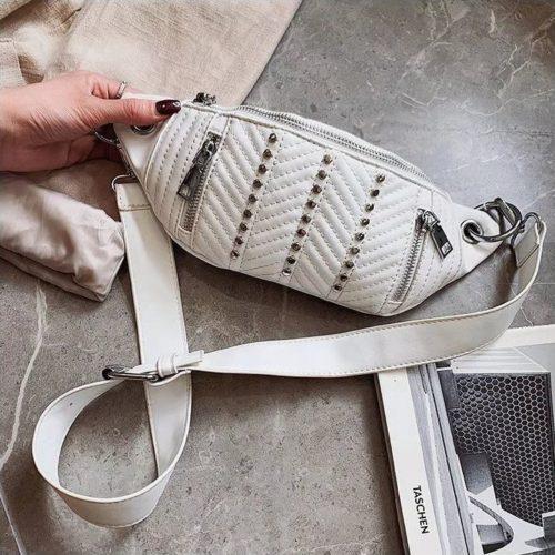 JT17746-white Waist Bag Sling Fashion Cantik Wanita Elegan