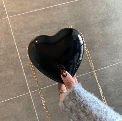 JT180SMALL-black Tas Pesta LOVE Tali Selempang Rantai